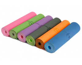 Non Slip Double Layer Eco Friendly TPE Yoga Mat Yoga Pilates 6MM Textured Surface Yoga With Position Line