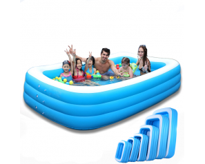 Inflatable Water Park Rectangle Blue Swimming Pool With Large Size 305x180x60cm