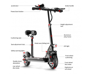 EU warehouse dropshiping 48 Volt 500w Vacuum Tyre Electric Kick Scooter/Escooter/f=Foldable e-scooter Electric Scooter for Adult